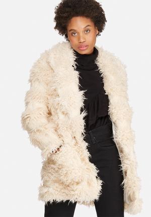 Glamorous Faux-Fur Teddy Coat Cream