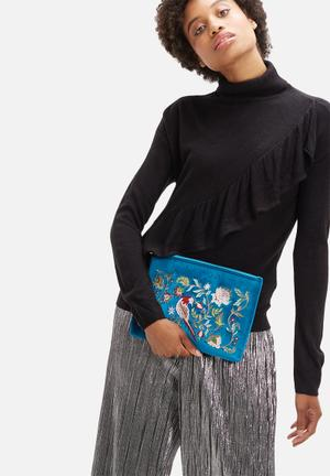 Glamorous Embroidered Clutch Bags & Purses Blue