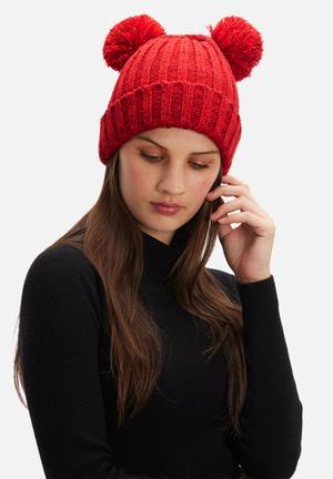 Dailyfriday Pom Pom Beanie Headwear Red & Black