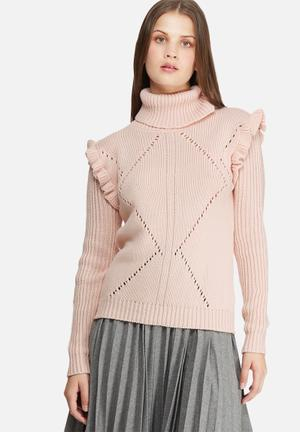 Dailyfriday Frill Sleeve Knit Knitwear Pink