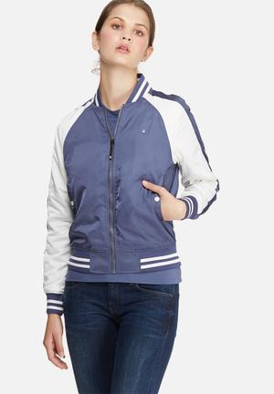 G-Star RAW Aurum Short Slim Bomber Jackets Blue & White