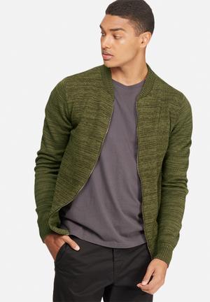 Basicthread Knit Bomber Knitwear Green Melange