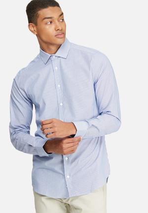 Basicthread Slim Fit Stripe Shirt Blue & White