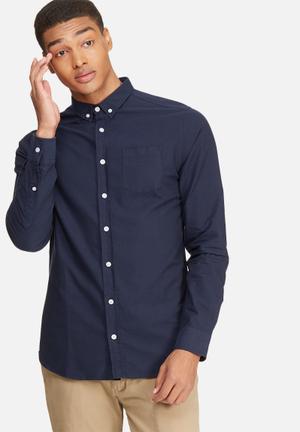 Basicthread Slim Fit Oxford Shirt Navy