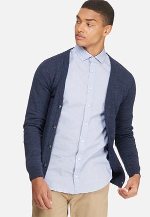 Basicthread Basic Cardigan Knitwear Blue