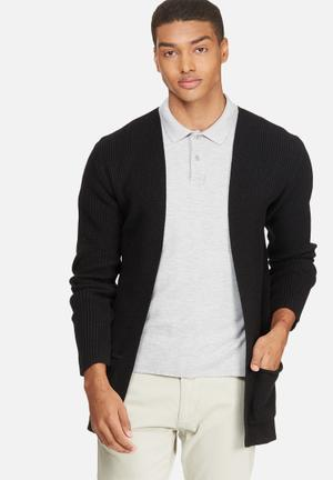 Basicthread Chunky Cardigan Knitwear Black