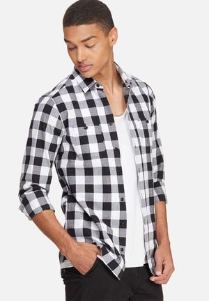 Basicthread Regular Fit Check Shirt Black & White