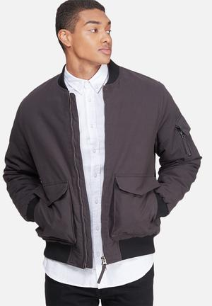 Bellfield Padded Bomber Jacket Charcoal