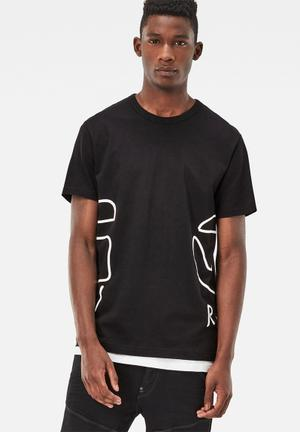 G-Star RAW Rituum Tee T-Shirts & Vests Black & White
