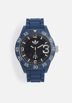 Adidas Originals Newburgh Watches Navy Blue Strap With Black Case
