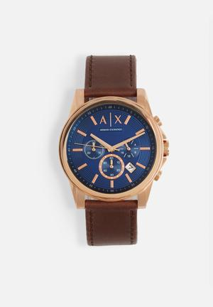 Armani Exchange Outerbanks Watches Gold & Blue With Brown Strap