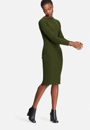 Dailyfriday Ribbed Knitwear Dress Casual Khaki