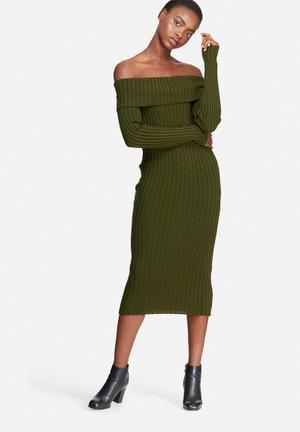 Dailyfriday Ribbed Knit Off Shoulder Dress Casual Khaki