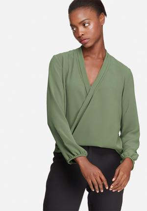 Dailyfriday Wrap Front Blouse Olive