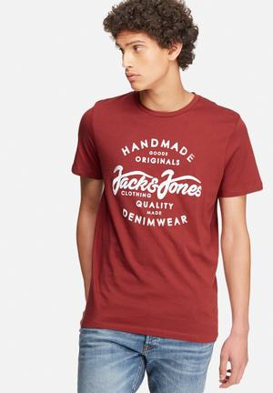 Jack & Jones Originals New Raffa Tee T-Shirts & Vests Burgundy & White