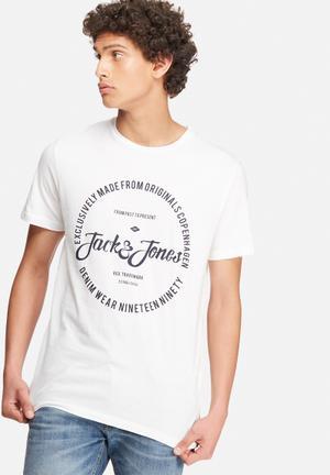 Jack & Jones Originals New Raffa Tee T-Shirts & Vests White & Navy