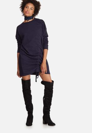 Missguided Ruched Sweat Dress Casual Navy