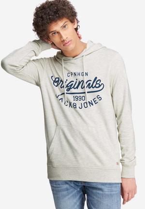 Jack & Jones Originals Finish Hood Sweat Hoodies & Sweatshirts White, Grey & Navy