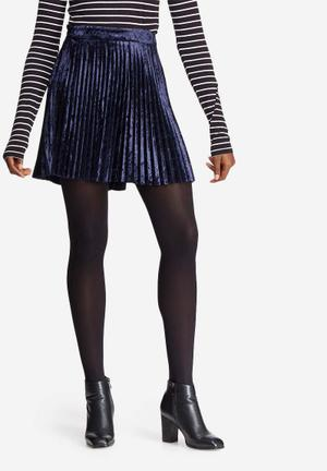 Dailyfriday Velvet Pleated Mini Skirt Navy