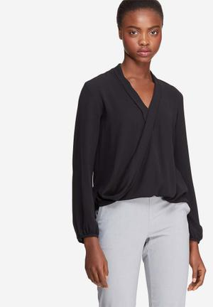 Dailyfriday Wrap Front Blouse Black