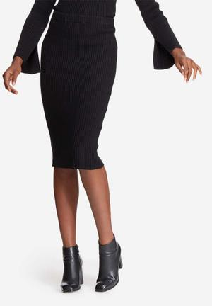 Dailyfriday Ribbed Knit Tube Skirt Black