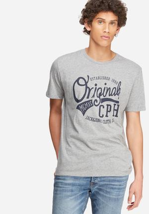 Jack & Jones Originals New Raffa Tee T-Shirts & Vests Grey & Navy