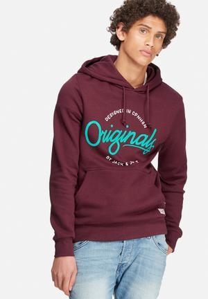 Jack & Jones Originals Sweep Hood Sweat Hoodies & Sweatshirts Burgundy