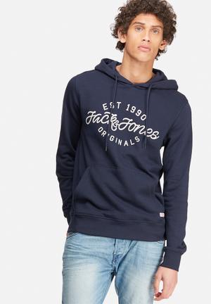 Jack & Jones Originals Finish Hood Sweat Hoodies & Sweatshirts Navy