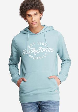 Jack & Jones Originals Finish Hood Sweat Hoodies & Sweatshirts Blue & White