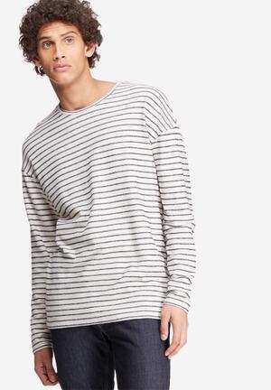 Jack & Jones Originals Stripe Crew Sweat Hoodies & Sweatshirts Cream & Navy