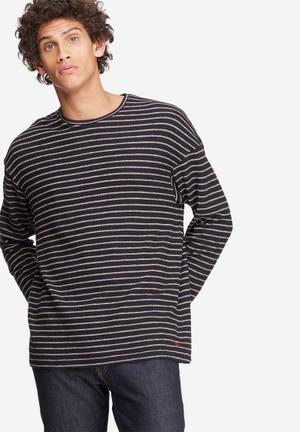 Jack & Jones Originals Stripe Crew Sweat Hoodies & Sweatshirts Black & Beige