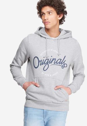 Jack & Jones Originals Sweep Hood Sweat Hoodies & Sweatshirts Grey Melange