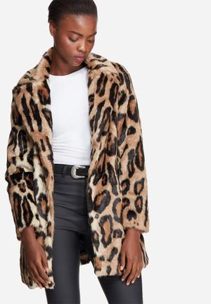 Glamorous Leopard Faux Fur Coat Jackets Brown & Black