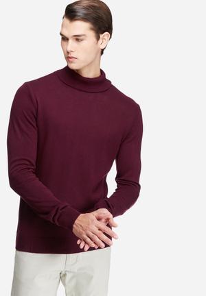 Basicthread Basic Roll Neck Pullover Knitwear Burgundy