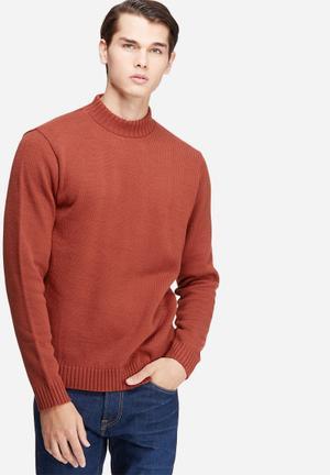 Basicthread High Neck Chunky Knit Knitwear Burnt Orange