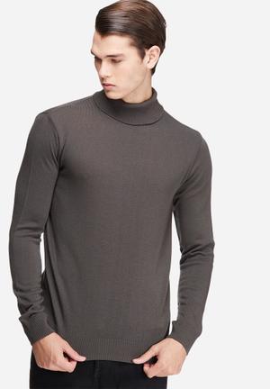 Basicthread Basic Roll Neck Pullover Knitwear Grey