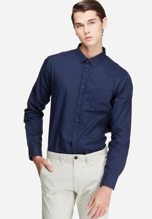 Basicthread Regular Fit 1 Pocket Poplin Formal Shirts Navy