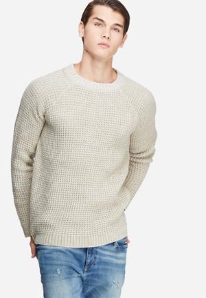 Basicthread Raglan Sleeve Textured Knit Knitwear Cream & Beige