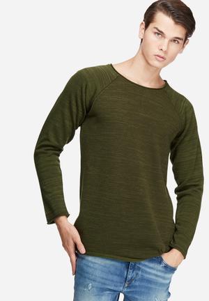 Basicthread Raw Edge Pullover Knit Knitwear Olive