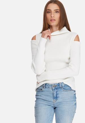 Dailyfriday Cold Shoulder Funnel Neck Knit Knitwear White