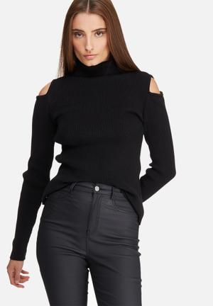 Dailyfriday Cold Shoulder Funnel Neck Knit Knitwear Black