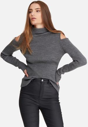 Dailyfriday Cold Shoulder Funnel Neck Knit Knitwear Grey
