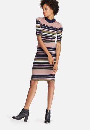 Y.A.S Milan Funnelneck Dress Casual Pink, Navy & Green