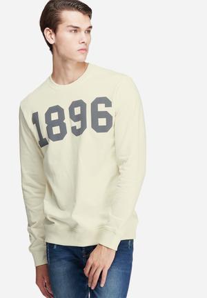 Only & Sons Kennedy Crew Sweat Hoodies & Sweatshirts Cream & Grey