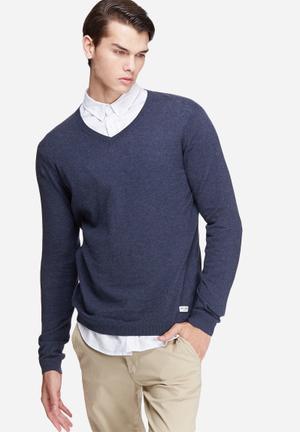 Only & Sons Alexander V-neck Knit Knitwear Dark Blue