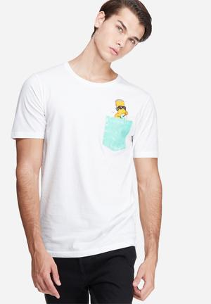 Only & Sons Simpsons Pocket Tee T-Shirts & Vests White