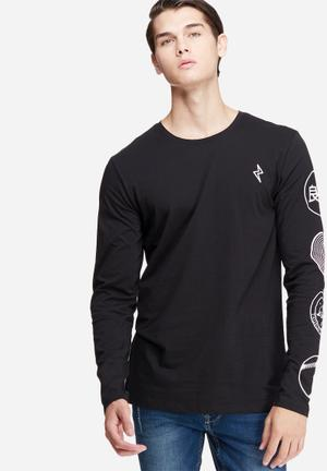 Only & Sons Andrew Long Sleeve Tee T-Shirts & Vests Black & White