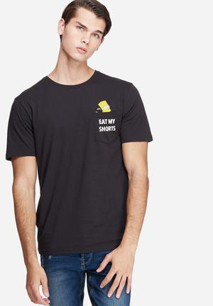 Only & Sons Simpsons Pocket Tee T-Shirts & Vests Black, White & Yellow