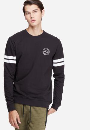 Only & Sons Anders Crew Sweat Hoodies & Sweatshirts Black & White