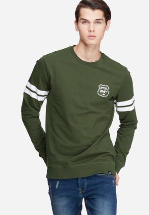 Only & Sons Anders Crew Sweat Hoodies & Sweatshirts Green & White
